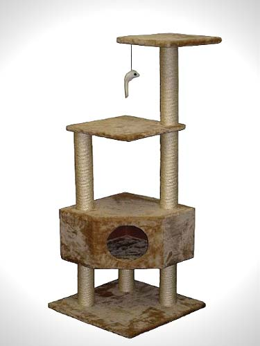 Go Pet Club Cat Tree Beige Color with house